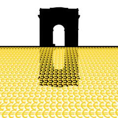 Arc de Triomphe with euro symbols illustration