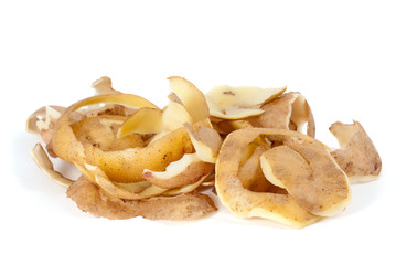 Some potato peel isolated on the white background
