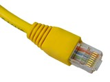 Yellow utp cat5 network cable isolated on white background poster