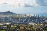 Dramatic view of Honolulu and Diamond Head from high overhead poster