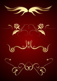 Editable vector graphic design elements on dark red background poster