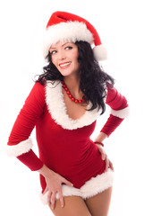 beautiful sexy brunette woman dressed as Santa