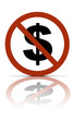 a no money  symbol, over white with reflections.