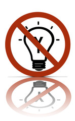 a no thinking or ideas allowed sign,