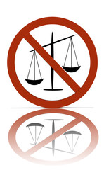 a no justice allowed symbol, over white with reflections.