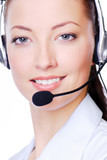 Close-up face of young adult woman in headphones on a white poster