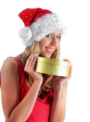 Santa girl hold bestowal, isolated on white