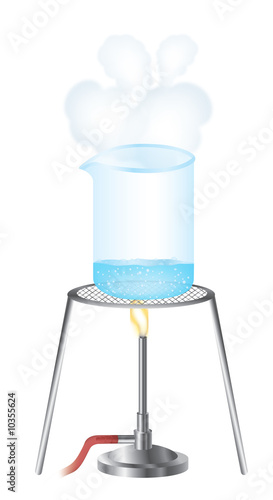 illustration of a science experiment with beaker and water