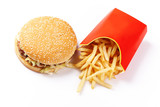 Burger and Fries in Cardboard Fast Unhealthy Food poster
