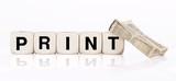 Print Holzbuchstabenwürfel mit miniatur Zeitung poster
