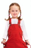 Smiling little girl with braids and red dress - isolated poster