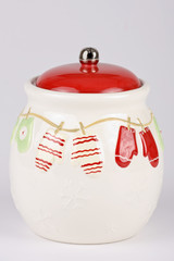 Christmas cookie jar isolated on a light background