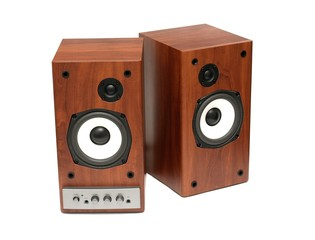 A pair of active speakers isolated on a white