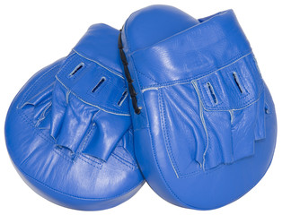 Blue punching focus mitts isolated with clipping path