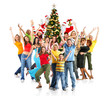 Happy People, Santa and Christmas tree. Over white background.