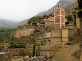 Beauty Berber village in Atlas mountain, rainy day. Morocco poster