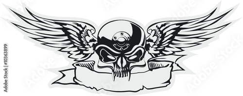 Vector skull with wings at gray basis
