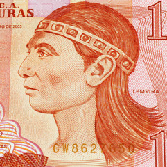 Lempira on Banknote from Honduras.