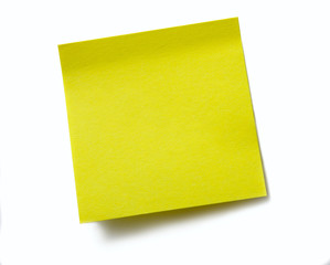 Clear sticky note without any words. Isolated on white
