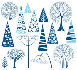 Set of winter trees