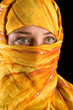close-up portrait of a beautiful woman wearing veil