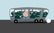 Leinwanddruck Bild - überfüllter bus