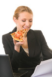 Businesswoman working and eating pizza at workplace poster