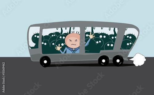 Leinwanddruck Bild überfüllter bus
