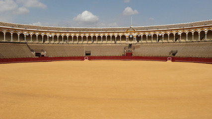 The bullfight sand field