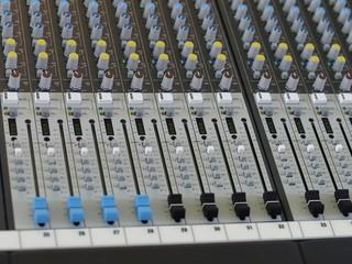 Closeup of digital sound mixer console