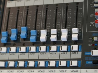 Detail of an audio mixing board