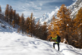 Hiker in a winter mountain landscape, Mont Blanc, Italy poster