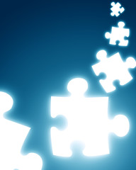 puzzle pieces on a dark blue background