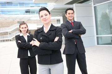 A pretty man and woman business team at office building