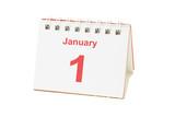 Desktop calendar showing January 1 poster