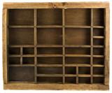 Old wooden typesetter case (drawer) isolated on white poster