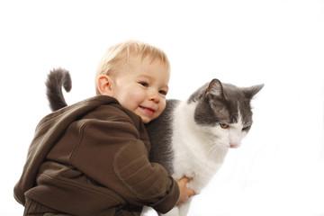 Boy loves his cat