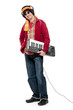 Casual young man holding an electronic musical keyboard