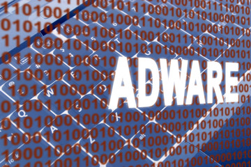 glowing Adware text over binary text and keyboard