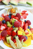 Delicious fruit salad with fresh fruits and low calorie poster