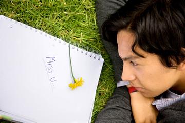 boyfriend missing his girlfriend - written on notebook