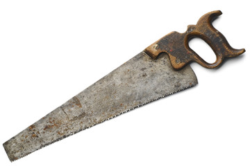 an old rusty crosscut saw on white background