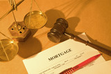 real estate concept with a mortgage application form with gavel poster