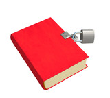 3d red book, closed on the lock. Objects over white poster