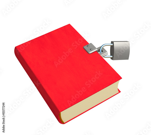 3d red book, closed on the lock. Objects over white