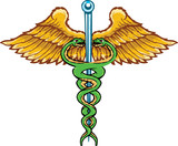 Caduceus the symbol of healing tattoo style vector illustration poster