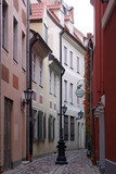 Pink street in ceter of Riga, Latvia poster