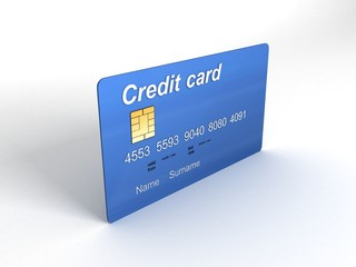 credit card in three dimensions on isolated background