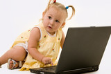 Adorable baby girl in pigtails working on a laptop computer poster