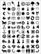 illustration of different icons on white